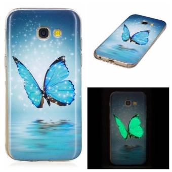 Tinggi Kualitas Butterfly Noctilucent TPU Lembut Kantong Gas Belakang Case Cover untuk Samsung Galaxy A5 (