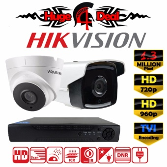 Hikvision DS-2CE16C3T-IT3 & DS-2CE56C3T-IT3 4CH HD CCTV 2 pieces Bullet and Dome Camera 1.3 MP DVR Kit Set TVI Decoding New EXIR 2017 Model 720p / 960p 3.6mm Lens Digital Video Recorder Free Adapter Free Camera Bracket ( DS-2CE16C7T / DS-2CE16C0T ) -
