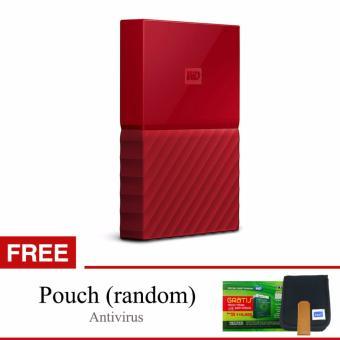 Jual Western Digital WD My Passport New Design 4TB 2.5 USB 3.0 - Merah + Gratis Pouch + Antivirus