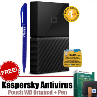 Jual WD My Passport ULTRA New Design 1TB Portable Storage USB 3.0 - Hitam Harddisk Eksternal 2.5 + Gratis Kaspersky USB Antivirus + Pouch WD Original + Pen