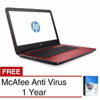 Jual HP Notebook - 14-am017tx - 14 - 4GB - AMD Radeon™ R5 ( 2.3 GHz ) - Merah + Free McAfee Anti Virus 1yr