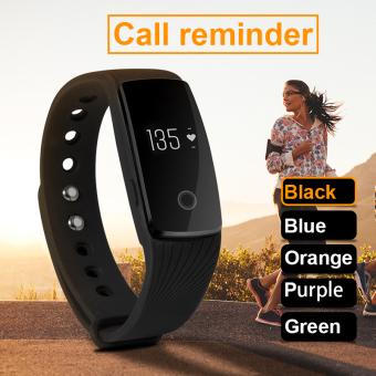 Jam Gelang OLED Smart Bluetooth Alat Pengukur Langkah Pusat PelacakHitam AC493