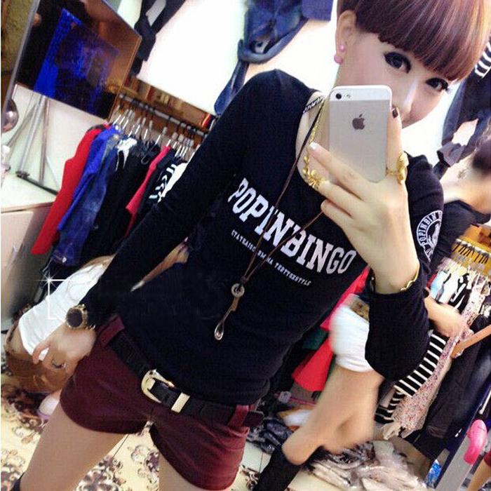 Kaos Korea Fashion Style Musim Semi dan Musim Gugur Baju Dalaman Perempuan Terlihat Langsing (Pop