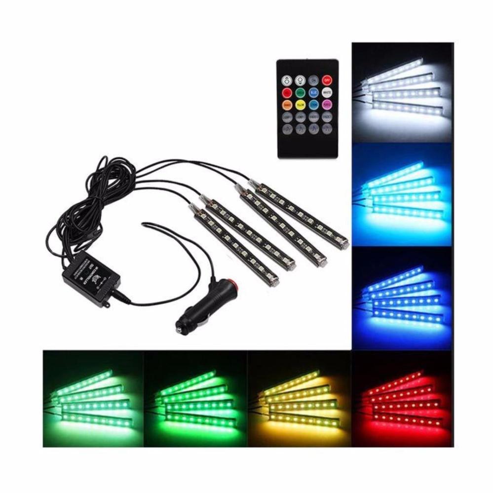 Led Kolong Jok Dashboard Mobil - Lampu LED Neon RGB With Remote Control universal