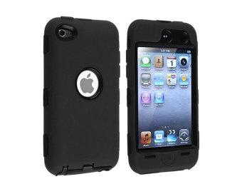 Leegoal 3 Bagian Hitam Keras Hitam Kulit Hibrida Keras Case Silikon For IPod Touch 4 4G