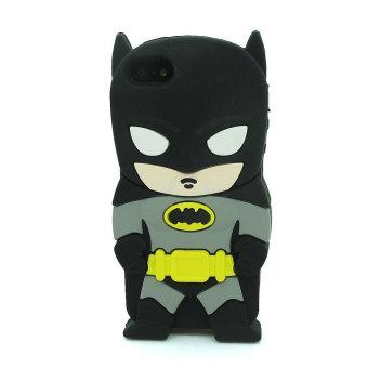 Leegoal Hitam/kelabu 3D Hero Batman Silikon Lembut Kulit Case untuk IPhone 4 4g 4