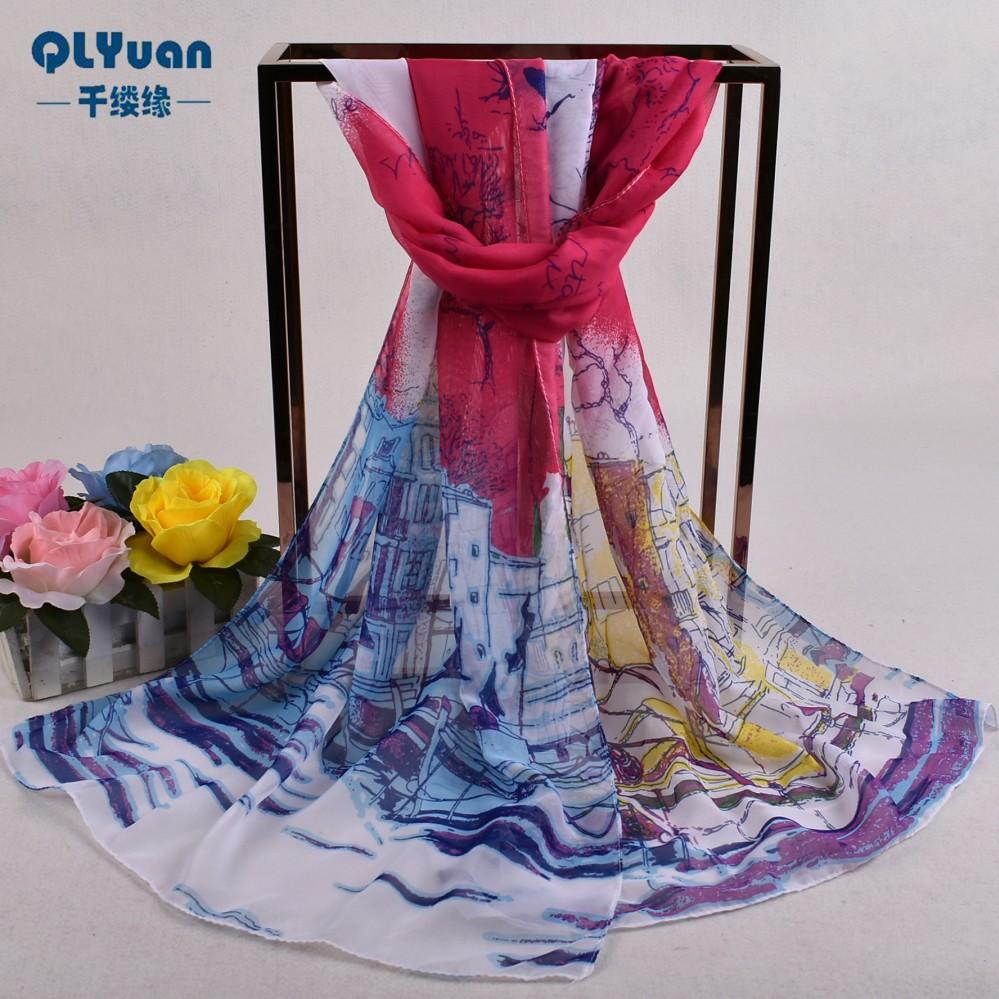 Lembut Chiffon Floral Pattern Silk Scarf Selendang Kasmir Jilbab Pashima Bandana Scarf Lembut untuk Wanita Chiffon