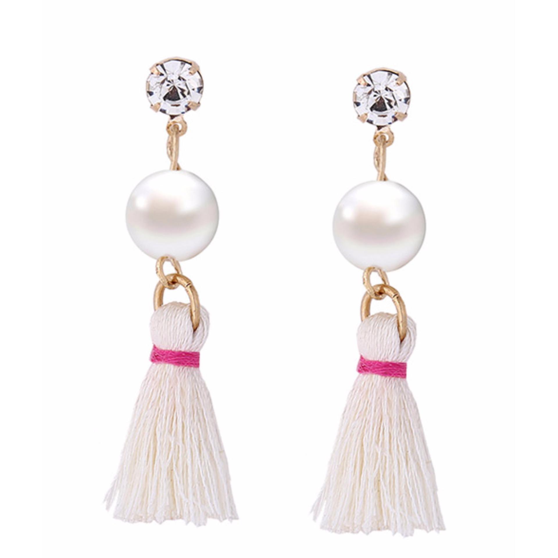 LRC Anting Tusuk Fashion Pearl&diamond Decorated Tassel Pure Color Earrings