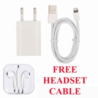 MidleUp Apple Original Charger iPhone 5/5C/5S + Cable Data - Putih free Apple Original Headset iPhone 5/5C/5S - Putih