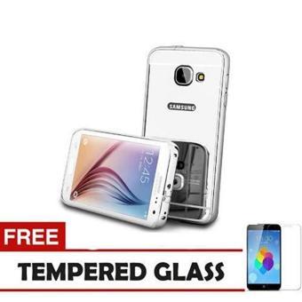 MNC Case Alumunium bumper Samsung Galaxy J7 Prime Bumper Mirror Slide - Silver Free Tempered Glass