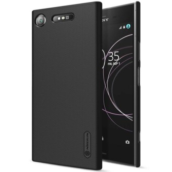 Nillkin Super Frosted Shield Matte cover case for Sony Xperia XZ1 - Hitam + free screen