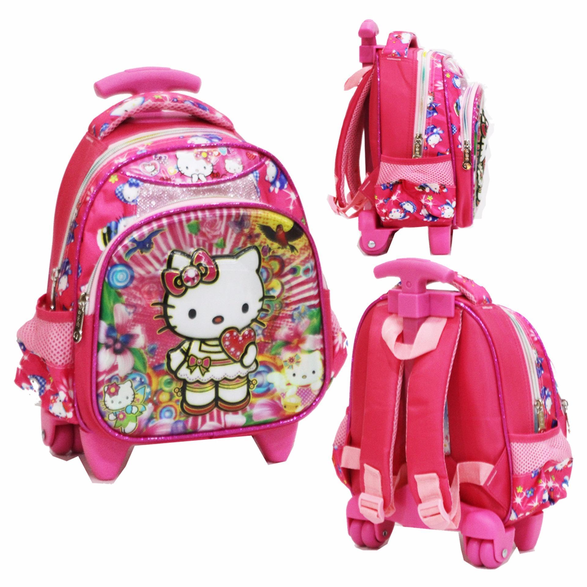 Onlan Tas Trolley Anak Sekolah Paut Karakter Hello Kitty Cantik 5D Timbul Hologram