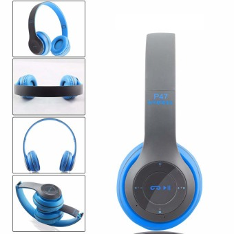 P47 Wireless Headphone Bluetooth V4,1 3D Surround (Biru)