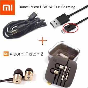 PAKET HEMAT Xiaomi Handsfree / Headset / Earphone Piston 2nd GEN + Kabel Data Xiaomi Micro