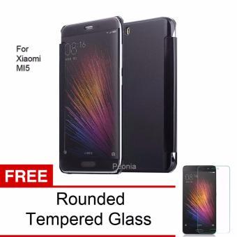 Peonia Mirror Flip Cover Case for Xiaomi Mi 5 / Mi 5 Pro - Hitam +