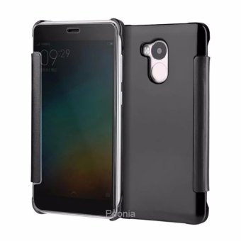 Peonia Mirror Flip Cover Case for Xiaomi Redmi 4s / Prime / Pro - Hitam
