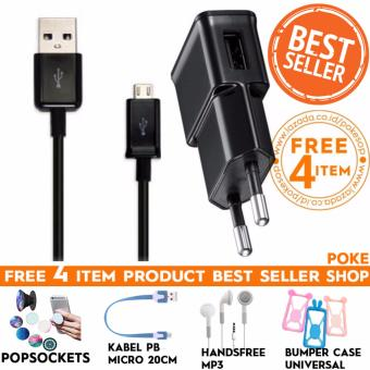 Pokeshop - Premium Charger Cable + Adapter Casan Hp Trevel Charger Kabel Micro Usb Data Cable