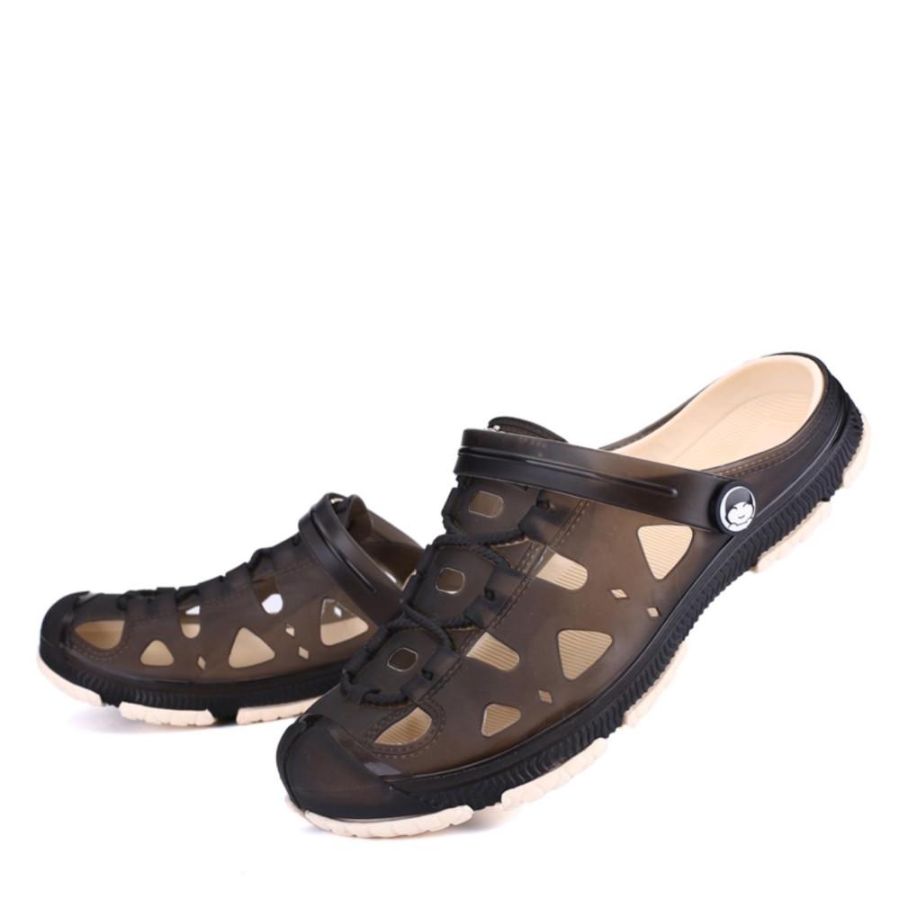 Pria Summer Outdoor Sandal Pantai Slide Lubang Sepatu Harian Sandal-Intl