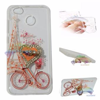 Rainbow Case Xiaomi Redmi 4X Softshell Animasi Paint + Crystal Phone Holder Ring / Soft Case