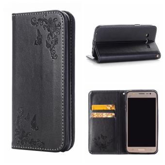 RUILEAN Leather Case For Samsung Galaxy J7 (2015) Flower Skin FlipWallet Pouch Stand Cover Black