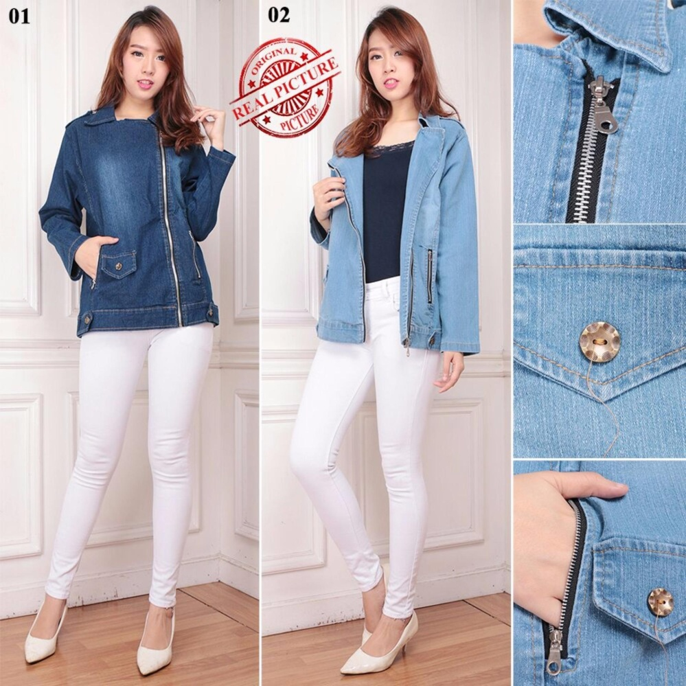 SB Collection Atasan Outer Kanina Jacket Jumbo Wanita - Biru Muda