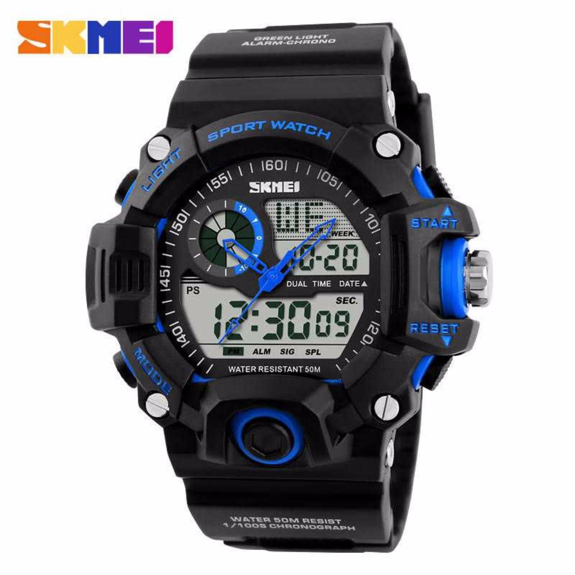 SKMEI Dual Time Men Sport LED Watch Anti Air Water Resistant WR 50m AD1029 Jam Tangan
