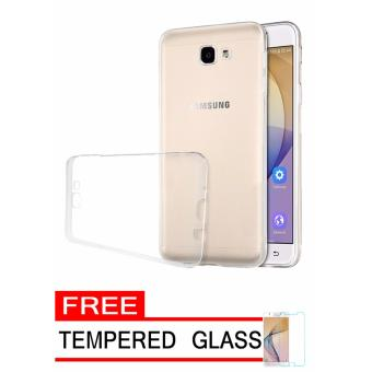 Softcase Silicon Ultrathin for Samsung Galaxy J5 Prime - Putih Clear + Free Tempered Glass
