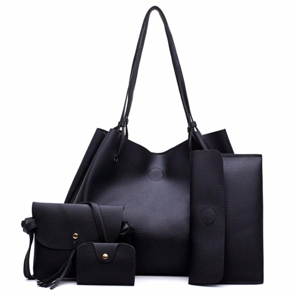Tas Fashion Wanita Import Bucket Bag Belle Korean Style 4in1 - Black