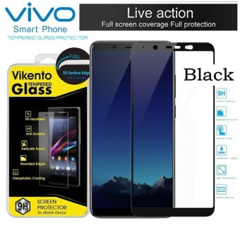 Tempered Glass Color Full Cover Screen Protector Film Guard For Vivo Y65 - Black