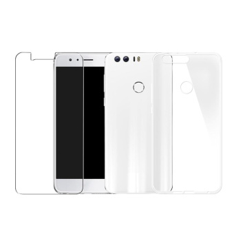 Tempered Glass Screen Film + Ultra Thin Clear Soft Phone Case For Huawei Honor 8 -