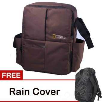 Third Party Tas Kamera Ransel National Geographic - Coklat + Free Rain Cover