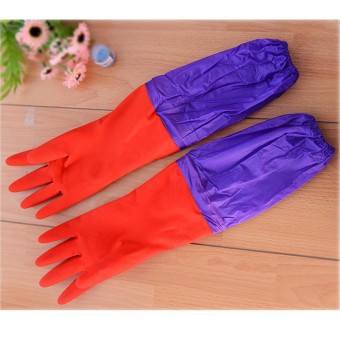 1 Pair Dapur Cuci Piring Pembersih Anti-Air Panjang Sleeves Karet LaTeX Sarung Tangan-