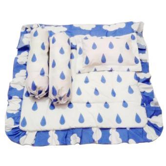Alona Ellenov Bedcover Bayi & Sarung Bantal Guling Rain Sky - Biru