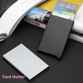 Kreatif Pria & Wanita Usaha Pemegang Kartu Tipis Aluminium RFID Otomatis Pop Up Klik Slide Pemegang