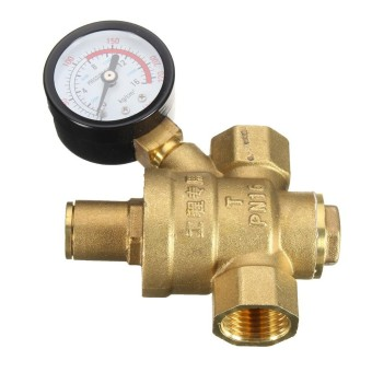 DN15 NPT 1/2 ''Adjustable Air Regulator Tekanan Reducer dengan Gauge Meter Baru-Intl