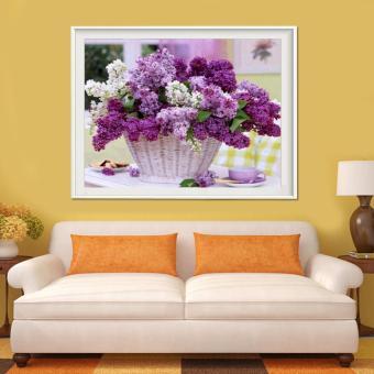 Bunga keranjang 5D Diamond buatan sendiri lukisan kerajinan ornamen dekorasi rumah Kit - International