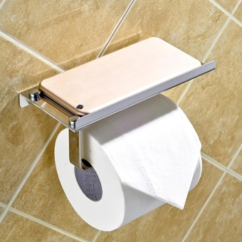 Gethome New Stainless Wall Mounted Bathroom Toilet Paper Phone Holder Rack Tissue Roll Stand - intl