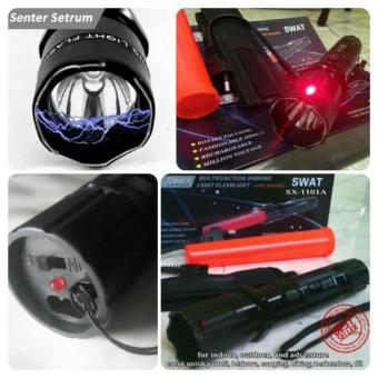 GOS Senter SWAT LED Serbaguna, Laser Merah, Setrum Kejut Untuk Pertahanan Diri