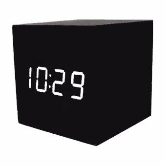 Led Clock Digital Wood Clock Waker Jam Meja Weker Alarm - JK-808 - Hitam
