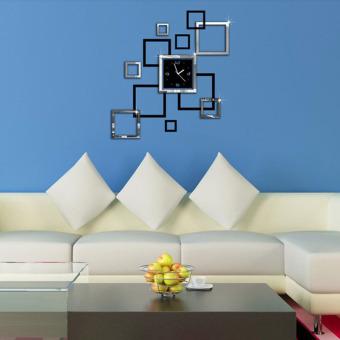 Baru 3D Dekorasi Rumah Stiker Dinding DIY Jam Dinding Cermin Double Warna