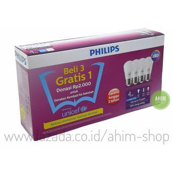 PHILIPS Lampu LED Bulb 4W = 40W Paket Beli 3 Gratis 1 - Cool Daylight (