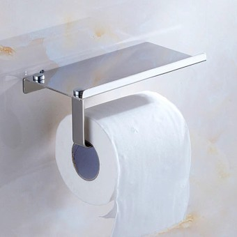 Wall Mounted 2 In 1 Stainless Steel Dinding Toilet Roll Paper Holder Rack Tissue Roll Stand