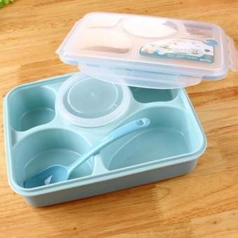 YOOYEE LEAK PROOF GRID LUNCH BOX SEKAT 5 + MANGKOK/ KOTAK MAKAN 393-BIRU