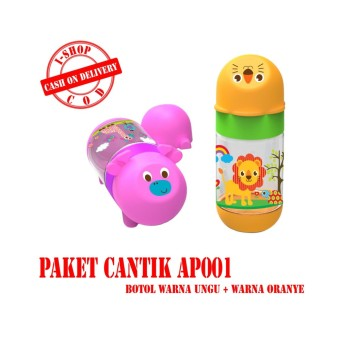 i-shop PAKET CANTIK Baby Safe Botol Susu Bayi 125 ml / Feeding Bottle 125ml / Botol Susu Karakter Kepala Binatang / AP001