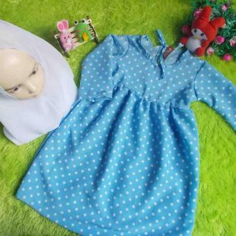 kembarshop Set Gamis Bayi Polka Soft Blue Plus Khimar 1 2 Tahun