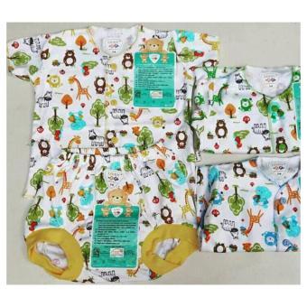 Libby Set Baju Lengan Pendek Kancing Tengah dan Celana Pendek Motif (3 Setel)(