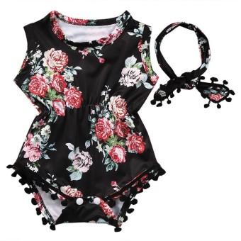 Bayi Baru Lahir Bayi Balita Gadis Bunga Baju Monyet Jumpsuit Sunsuit Pakaian Set-Internasional