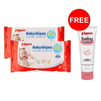 Pigeon Baby Wipes Pure Water 82's P2 Free Baby Lotion 100ml