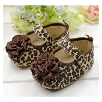 Sepatu Bayi First Walker Brown Leopard Flower (6-10 Bulan)