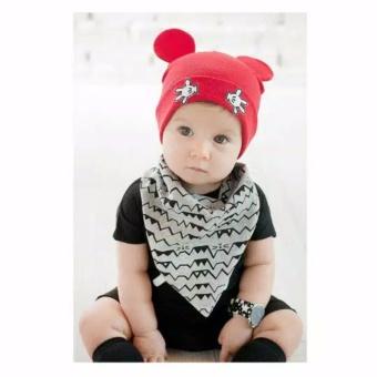 Topi Kupluk Bayi Balita dengan Motif Telinga Mickey Mouse